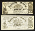 Confederate Notes:1861 Issues, CT18/132A Counterfeit $20 1861 Two Examples.. ... (Total: 2 notes)