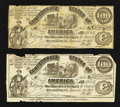 Confederate Notes:1861 Issues, CT13/56A Counterfeit $100 1861 Two Examples.. ... (Total: 2 notes)