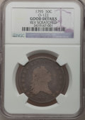 Early Half Dollars: , 1795 50C 2 Leaves -- Rev Scratched -- NGC Details. Good. O-122. NGCCensus: (29/822). PCGS Population (44/1303). Mintage: ...