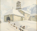 Fine Art - Painting, European:Modern  (1900 1949)  , Attributed to ARCAGELO SALVARANI (Italian, b. 1882). Church in the Snow. Watercolor on paper. 16-1/2in. x 19-1/2in.. Ins... (Total: 1 Item)