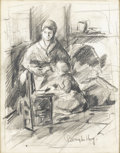 Fine Art - Painting, European:Modern  (1900 1949)  , BERNARD DE HOOG (Dutch, 1867-1943). Mother and Child.Charcoal on paper. 18-1/4in. x 14-3/4in.. Signed at lower right... (Total: 1 Item)