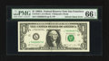 Error Notes:Ink Smears, Fr. 1916-L $1 1988A Federal Reserve Note. PMG Gem Uncirculated 66EPQ.. ...