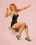 Pin-up and Glamour Art, AL BUELL (American, 1910-1996). Seated Redhead in Swimsuit.Oil on canvas. 20 x 16 in.. Signed lower left. From the ...