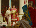Paintings, DEAN CORNWELL (American, 1892-1960). Marcellus and Diana before Caligula, The Robe book illustration, 1947. Oil on board...
