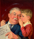 Pulp, Pulp-like, Digests, and Paperback Art, RUSSELL SAMBROOK (American, 1891-1956). Boy Whispering intoGrandfather's Ear, Capper's Farmer magazine cover, December ...