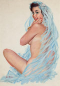 "Pin-up and Glamour Art, AL MOORE (American, 20th Century). ""June, The Inventor'sDaughter (She Has Bride Ideas)"", Brown & Bigelow calendarillust..."