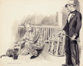 """Mainstream Illustration, JAMES MONTGOMERY FLAGG (American, 1877-1960). """"I Didn't Know YouWere Fond of Animals"""". Watercolor on board. 21 x 26 in...."""