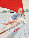 Pin-up and Glamour Art, AL BUELL (American, 1910-1996). Blonde Pin-Up on Sailboat.Mixed media on board. 24.75 x 19 in.. Signed lower right. ...