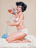 Pin-up and Glamour Art, ARTHUR SARON SARNOFF (American, 1912-2000). Pin-Up on thePhone. Gouache and tempera on board. 25 x 19 in.. Signedlower...