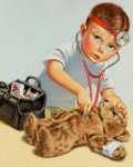 Mainstream Illustration, AMERICAN ARTIST (20th Century). Check-up for Teddy, originalgreeting card illustration. Watercolor and gouache on paper...