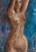 Mainstream Illustration, AMERICAN ARTIST (20th Century). Standing Nude. Oil oncanvas. 17 x 12 in.. Signed indistinctly lower right. Fromthe...