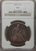 Seated Dollars: , 1859-O $1 Fine 15 NGC. NGC Census: (3/473). PCGS Population(5/733). Mintage: 360,000. Numismedia Wsl. Price for problem fr...