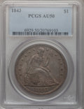 Seated Dollars: , 1843 $1 AU50 PCGS. PCGS Population (60/165). NGC Census: (41/198).Mintage: 165,100. Numismedia Wsl. Price for problem free...