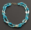 "Estate Jewelry:Necklaces, Outstanding ""Zoe B"" Designer Turquoise & Pearl Necklace. ..."