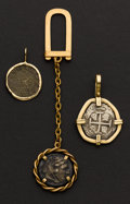 Estate Jewelry:Pendants and Lockets, A Lot Of Three Ancient Coins & Key Chain. ... (Total: 3 Items)