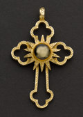 Estate Jewelry:Pendants and Lockets, Jerusalem Gold Cross With Religious Reliquary Relic. ...