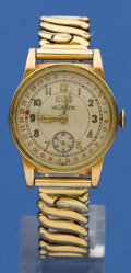 Timepieces:Wristwatch, LeCoultre Gold Filled With Wind Indicator Wristwatch. ...