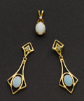 Estate Jewelry:Suites, Estate Gold & Opal Earrings & Pendant. ... (Total: 2 Items)