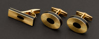 Gold & Onyx Cufflinks & Tie Bar