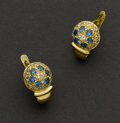Estate Jewelry:Earrings, Blue Sapphire & Diamond Gold Earrings. ...