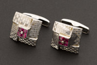 White Gold, Ruby & Diamond Cufflinks