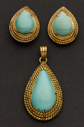 Estate Jewelry:Suites, Turquoise Earrings & Pendant. ... (Total: 3 Items)
