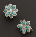 Estate Jewelry:Earrings, Turquoise & Diamond Earrings. ...