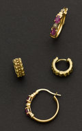 Estate Jewelry:Earrings, Two Estate Pair Of Gold Earrings. ... (Total: 2 Items)