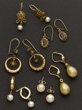 Estate Jewelry:Earrings, Six Pair of Gold Earrings. ... (Total: 6 Items)