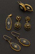 Estate Jewelry:Earrings, Three Pair of Onyx & Gold Earrings & One Pendant. ...(Total: 4 Items)
