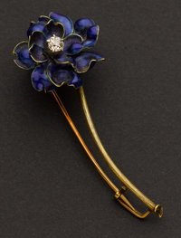 Tiffany & Co. Early Enamel & Diamond Pin
