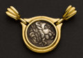 "Estate Jewelry:Pendants and Lockets, ""Serkos"" 18k Gold Framed Ancient Coin Pendant. ..."
