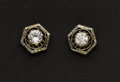 Estate Jewelry:Earrings, Antique Stud Earrings, One Diamond, One CZ. ...