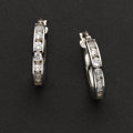 Estate Jewelry:Earrings, White Gold & CZ Hoop Earrings. ...