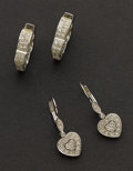Estate Jewelry:Earrings, Two Pair of Gold & Diamond Earrings. ... (Total: 2 Items)