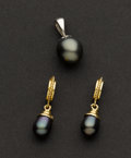 Estate Jewelry:Other , Tahitian Pearl & Gold Earrings & Pendant. ... (Total: 2 Items)