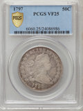 Early Half Dollars, 1797 50C VF25 PCGS Secure. PCGS Population (5/24). NGC Census:(3/718). Mintage: 3,918. Numismedia Wsl. Price for problem f...