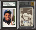 Autographs:Letters, 1989 Upper Deck Ken Griffey Jr. SGC NM/MT 88 And 2001 BowmanHeritage Beckett Mint 9 Autograph 10 Lot Of 2. ...