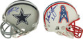 Football Collectibles:Helmets, Warren Moon and Troy Aikman Signed Mini Helmets Lot of 2....
