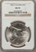 Modern Issues: , 1983-P $1 Olympic Silver Dollar MS70 NGC. NGC Census: (21). PCGSPopulation (14). Mintage: 294,543. Numismedia Wsl. Price f...
