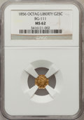 California Fractional Gold: , 1856 25C Liberty Octagonal 25 Cents, BG-111, R.3, MS62 NGC. NGCCensus: (20/26). PCGS Population (84/125). (#10380)...