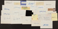 Baseball Collectibles:Others, Baseball Greats Signed Index Cards and Cut Signatures Lot of 26....