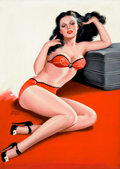 Pin-up and Glamour Art, PETER DRIBEN (American, 1902-1968). Pin-Up in Red Lingerie,Eyeful magazine cover, April 1946. Acrylic on board. 35 x 25...