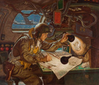 DEAN CORNWELL (American, 1892-1960) On Target- Let's Finish the Job, Body by Fisher/General Motors advertisemen