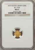California Fractional Gold: , 1870 50C Liberty Round 50 Cents, BG-1024, Low R.4, MS61 NGC. NGCCensus: (4/5). PCGS Population (21/62). (#10853)...