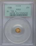 California Fractional Gold: , 1880 25C Indian Octagonal 25 Cents, BG-799X, R.3, MS63 PCGS. PCGSPopulation (54/81). NGC Census: (7/16). (#10650)...
