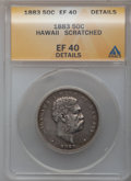 Coins of Hawaii: , 1883 50C Hawaii Half Dollar -- Scratched -- ANACS. XF40 Details.NGC Census: (32/325). PCGS Population (65/467). Mintage: 7...