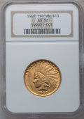 Indian Eagles: , 1907 $10 No Periods AU58 NGC. NGC Census: (774/4931). PCGSPopulation (827/4312). Mintage: 239,400. Numismedia Wsl. Price f...