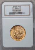 Indian Eagles: , 1932 $10 AU58 NGC. NGC Census: (258/50474). PCGS Population(486/42357). Mintage: 4,463,000. Numismedia Wsl. Price for prob...