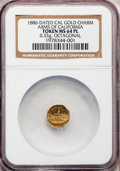 California Gold Charms, 1886-Dated California Gold Charm, Arms of California Token MS64 Prooflike NGC. Octagonal, .33 grams....